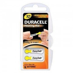 Duracell easytab piles auditives da10 6 jaune
