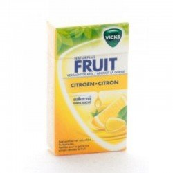 Vicks Fruit plus c citron sans sucre boîte 40g