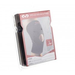 Knee support - genouillère avec dégagement rotulien black/scarlet small 402r-bs