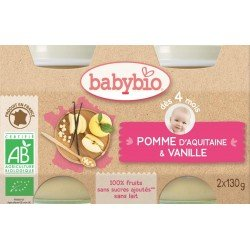 Babybio petit pot pomme-vanille 2x130g