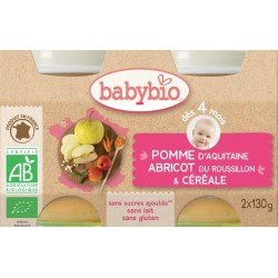 Babybio petit pot pomme-abricot-cereal 2x130g