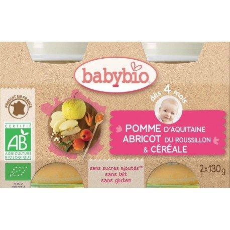 Babybio petit pot pomme-abricot-cereal 2x130g