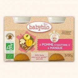 Babybio bipack pomme-mangue +4m 2x130g 51079