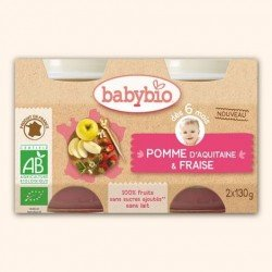Babybio bipack pomme-fraise +6m 2x130g 51093