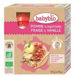 Babybio puree fruit pomme aardbei vanille 4x90g