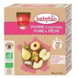 Babybio puree fruit pomme poire peche 4x90g