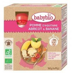 Babybio puree fruit pomme abricot banane 4x90g