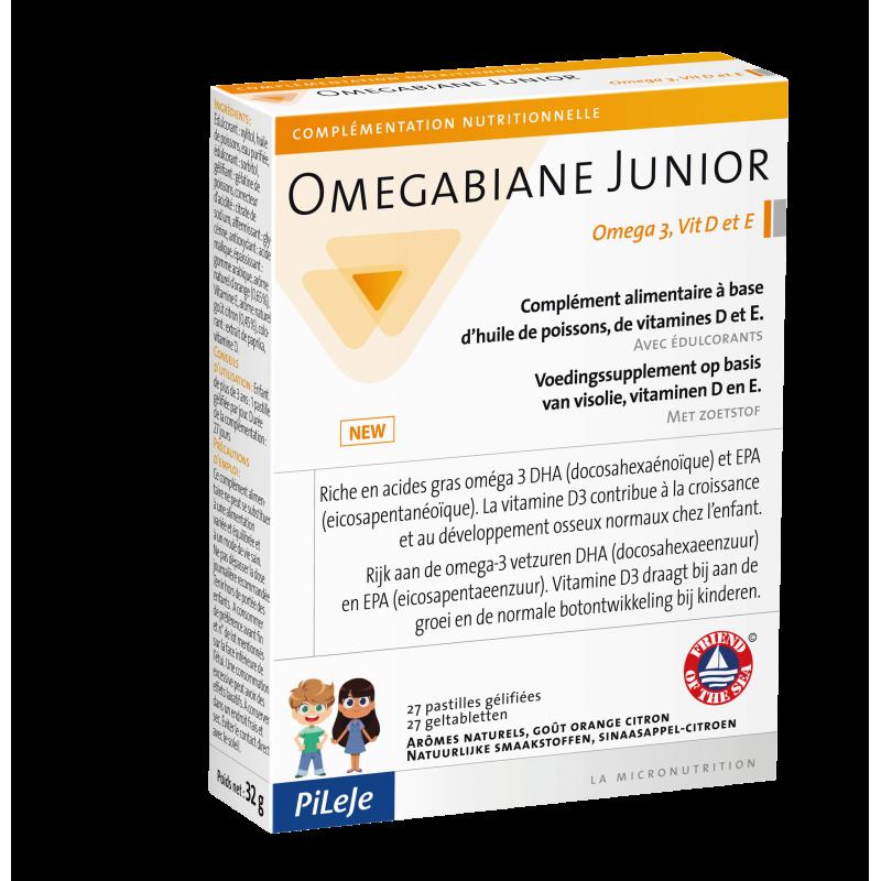 Pileje Omégabiane Junior oméga 3 vitamines D, E 27 pastilles f79f789bd76