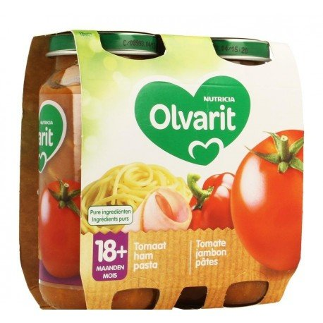 Olvarit macaroni tomate jambon 2x250g 18m03