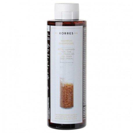 Korres hair rijst eiwit en lindeboom shampoo rice prot-linde fijn haar/zonder volume 250 ml