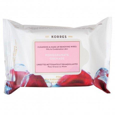 Korres face pomegranate reinigingsdoekjes voor gezicht en ogen 25 stuks gemengde vette huid