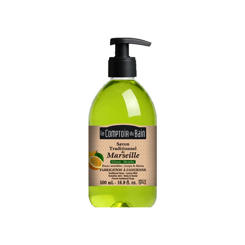 Le comptoir du bain savon de marseille citron menthe 500ml for Le comptoir du meuble bruxelles