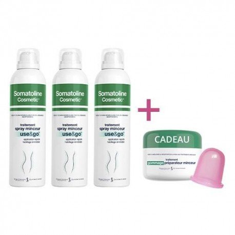 Somatoline Pack Spray Minceur Use&Go 3x200ml + Gommage 300gr + Ventouse Cellulite Accessoire