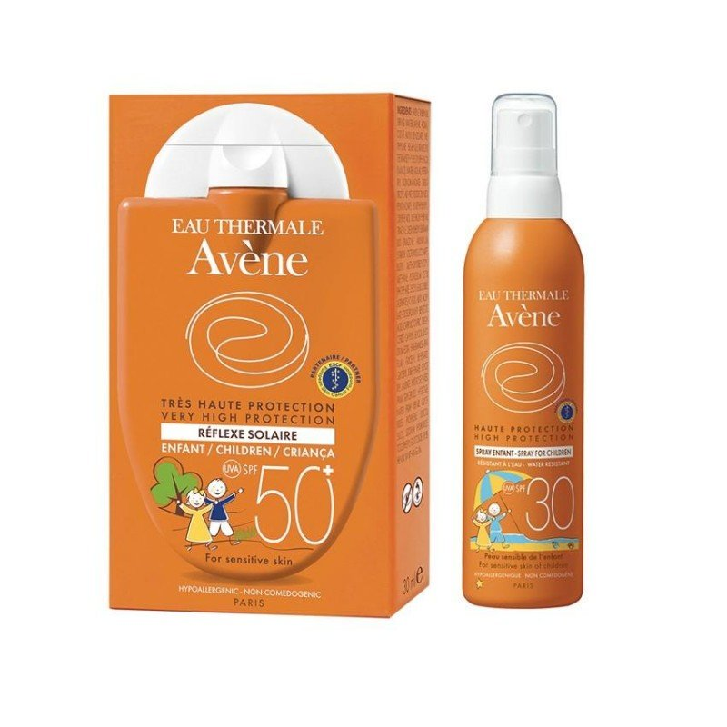 59c38657ae Avène Pack Solaire Réflexe Enfant SPF 50+ 30ml + Solaire Enfant Haute  Protection Spray SPF30 200ml