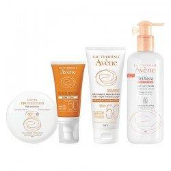 Avène Pack Solaire teinté ip50 poudrier + crème ip 50 avec parfum + lait minéral SPF50 + Trixera Nutrition lait n-f