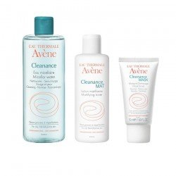 Avene pack Cleanance eau mic. + lotion mat + gommage