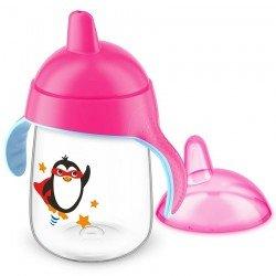 Avent gobelet anti fuite pinguin rose 340ml