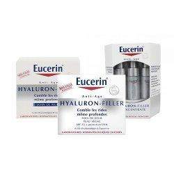 Pack Eucerin Hyaluron-filler crème de jour peaux sèches 50ml + soin précision concentré 6x15ml + Crème de nuit 50ml