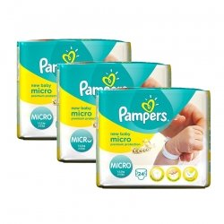 Pampers triopack New baby micro couches dry premature 3x24