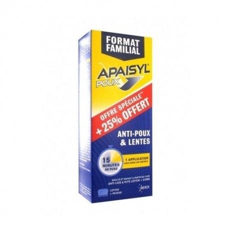 Apaisyl Traitement Poux & Lentes Lotion 250 ml 25% Offert + Peigne