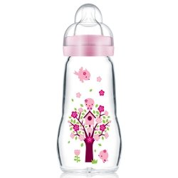 Mam Feel Good Biberon En Verre Rose (Motif Variable) 260ml