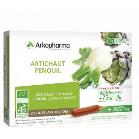 Arkofluide Artichaut Fenouil Bio 20 ampoules