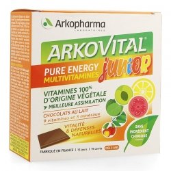 Arkopharma Arkovital Pure Energy Junior Chocolat 15 carrés