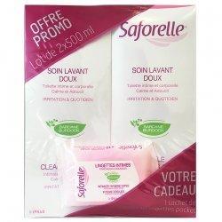 Saforelle Soin Lavant Doux Toilette Intime & Corporelle 2x1L + 10 lingettes CADEAU