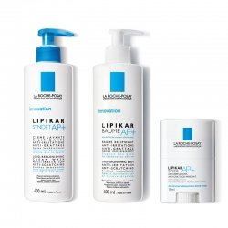 La Roche Posay Pack Lipikar Syndet AP+ Crème Lavante Relipidante 400ml + Baume AP+ 400 ml + Sticks AP+ 15ml