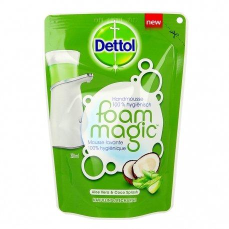 Dettol Foam Magic Mousse Lavante 100% Hygiénique Aloe Vera & Coco Splash 200ml