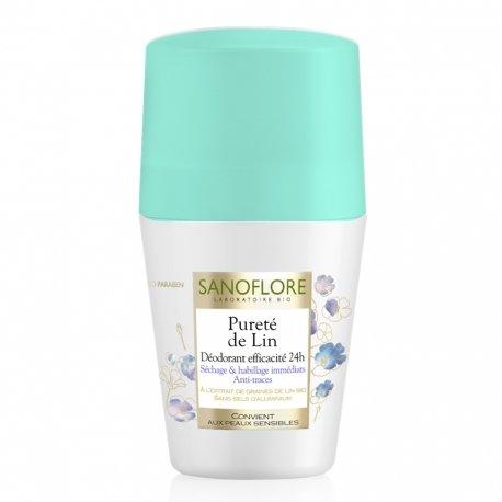 Sanoflore Pureté Lin Déodorant Efficace 24 H Séchage et Habillage immédiat Anti-Traces 50 ml