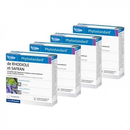 Pileje Phytostandard rhodiole-safran 4 x 30 comprimés 3+1 GRATUIT