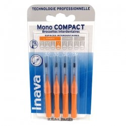 Inava Mono Compact Brossettes Interdentaires Orange Etroits 1,2 mm