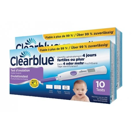 Duo Pack Clearblue Test d'Ovulation digital avec Lecture de Deux Hormones 10 tests