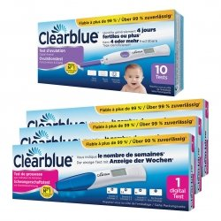 Clearblue test Ovulation 10 tests lecture 2 hormones + Clearblue digital test grossesse conception indicator 3pces (3060035)