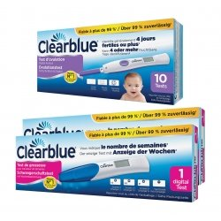 Clearblue Test Ovulation 10 tests avec lecture 2 hormones + 2 Clearblue digital tests grossesses conception indicator (3060035)