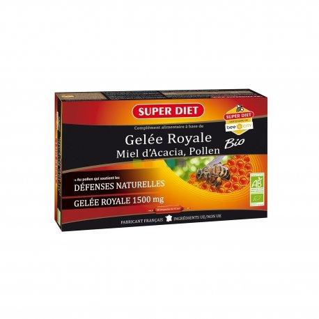 Superdiet Gelée Royale Miel Pollen Bio 20 ampoules de 15ml