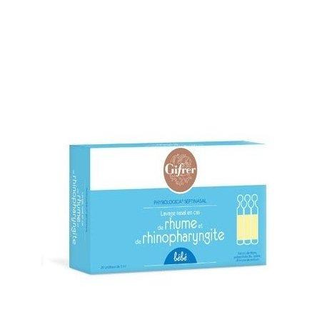 Gifrer Physiologica Septinasal Lavage Nasal en cas de Rhume et Rhinopharyngite 20 Unidoses de 5 ml