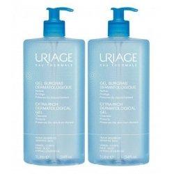 Uriage Duo Pack Gel Surgras Liquide Dermatologique Gel Moussant Nettoyant peaux sensibles 2x1L