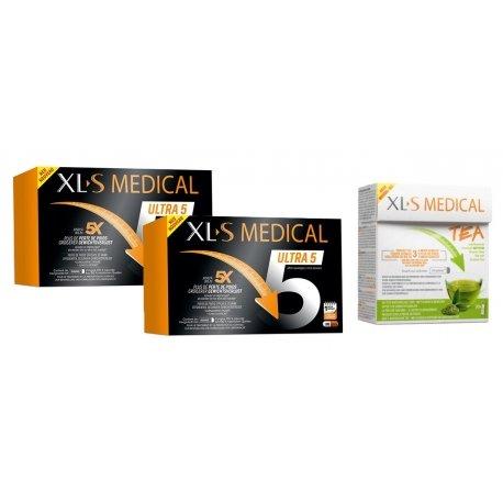 XLS Medical Pack Force 5/Ultra 5 2x180 gélules + Thé (30 pièces)