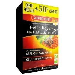 Superdiet Gelée Royale Miel Acacia Pollen Bio 30 Ampoules +50% OFFERT