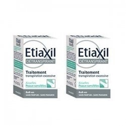 Etiaxil Détranspirant Transpiration Excessive Peau Sensible Roll on Duo Pack 2x5 ml