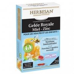 Herbesan Gelée Royale Miel Zinc 20 Ampoules