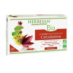 Herbesan Ginkgo Circulation Bio 20 Ampoules de 15ml