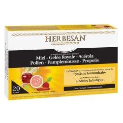 Herbesan Miel + Gelée Royale + Acérola + Pollen + Pamplemousse + Propolis 20 Ampoules de 15ml