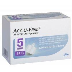 Accu-Fine Aiguilles Stériles pour Stylos à Insuline 0.25mm (31G) x 5mm 100 pièces