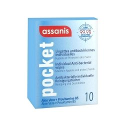 Assanis Pocket Lingettes Antibactériennes Individuelles 10 lingettes