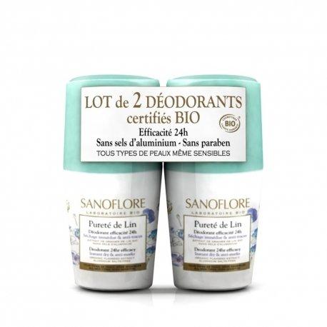 Sanoflore Pureté de Lin Déodorant Efficacité 24H 2 x 50ml
