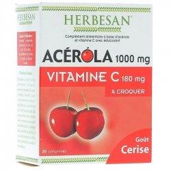 Herbesan Acérola 1000mg Vitamine C 180mg Goût Cerise 30 comprimés