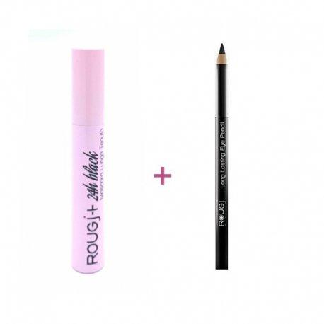 Rougj pack Mascara Black 24h + crayon yeux noir mat